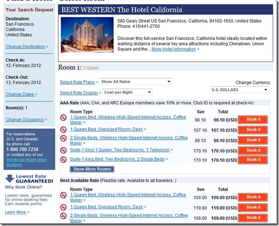 Best Western Hotel California rates