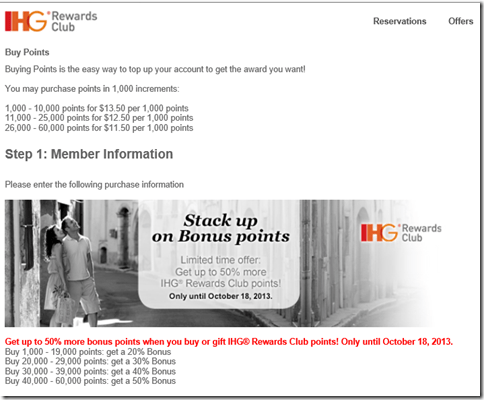 IHG buy points sale 9-13