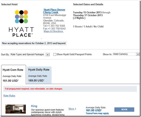 Hyatt 161 rate