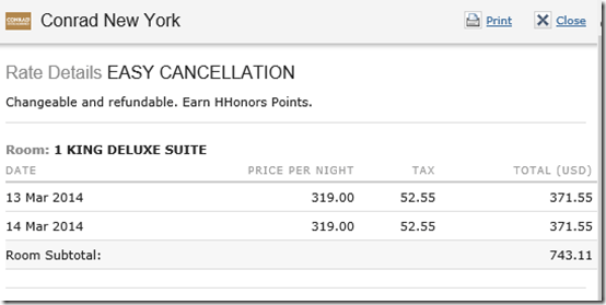 Conrad NY room tax