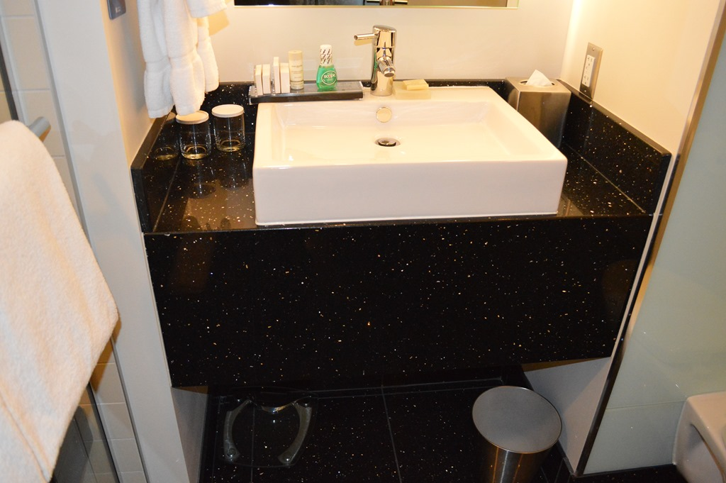 Perfect Bathroom sink scale and toiletries Toilet on left and shower on right One piece of information I learned from the conference is Radisson Blu is changing