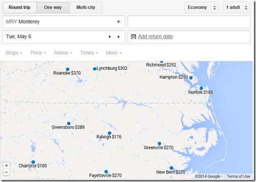 Google Flights MRY-Carolinas