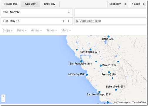Google Flights ORF-MRY