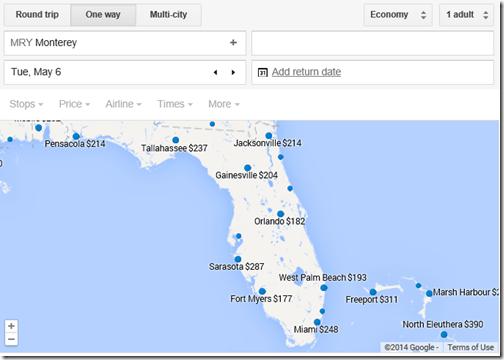 Google flights MRY-Florida