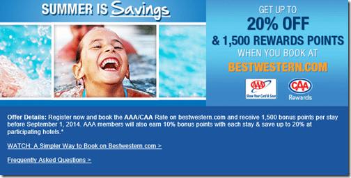 BestWestern summer 2014 AAA 1500 points