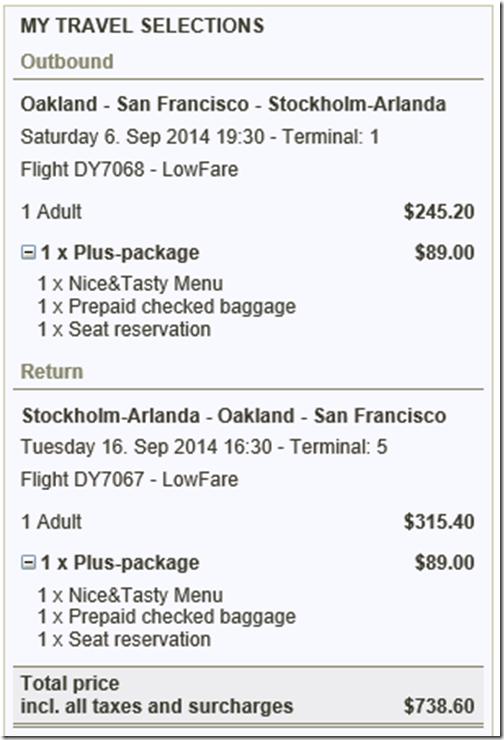 Norwegian bag fees