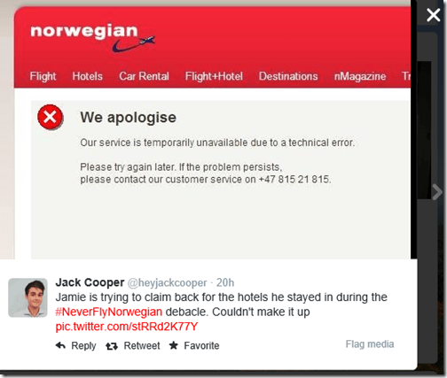 Norwegian customer service tweet
