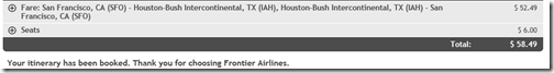 Frontier $58.49 SFO-IAH