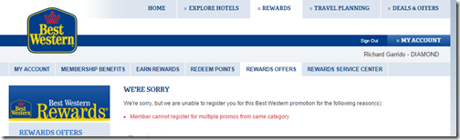 Best Western AA promo rejection