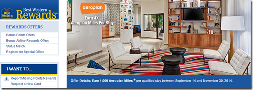 Best Western Aeroplan Sep-15-to-nov-30-2014