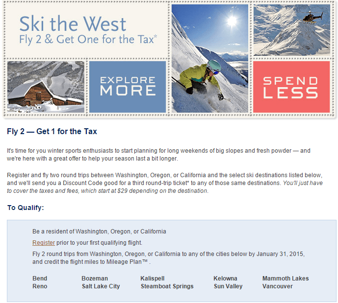 Alaska Airlines Ski The West Fly 2 Get 1 For Tax Only