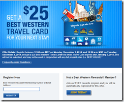 CyberMonday Best Western Travel Card