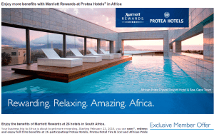Protea Hotels in South Africa join Marriott Rewards February 23, 2015.