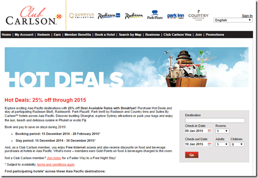 Club Carlson 2015 Asia Pacific breakfast rate