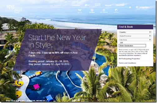 Starwood Asia Pacific Jan sale