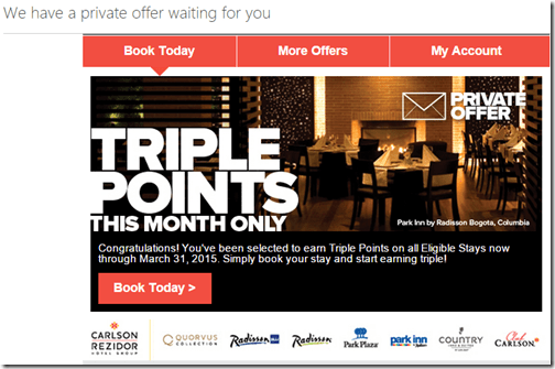 Club Carlson Triple Points March 2015