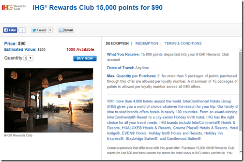 Daily Getaways IHG 15,000-$90