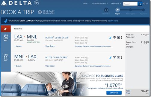 LAX-MNL Delta $874