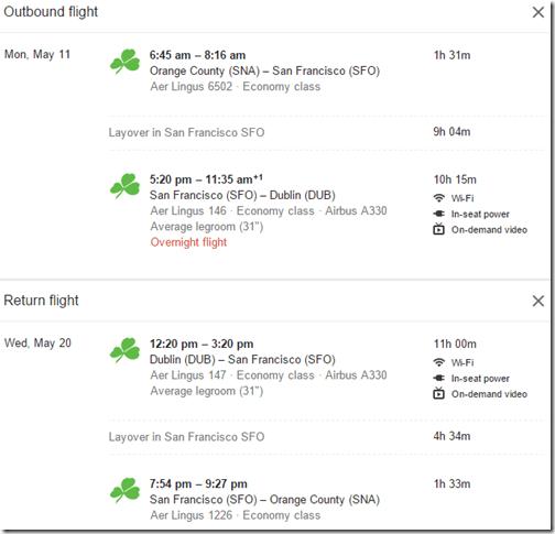 SNA-DUB Aer Lingus $795