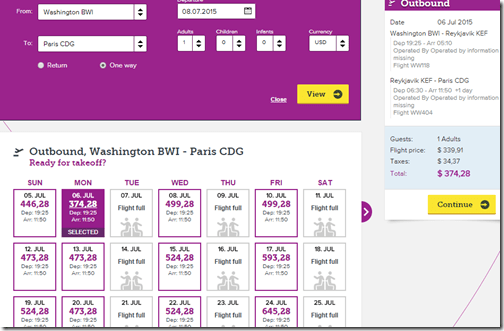 WOW BWI-CDG July 6 $375
