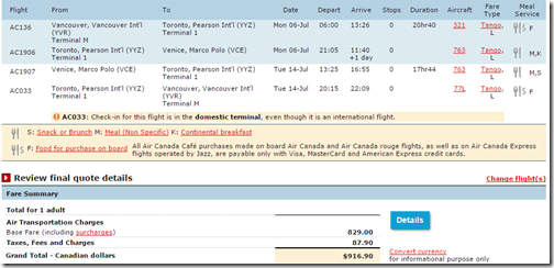 YVR-VCE Air Canada $727 July