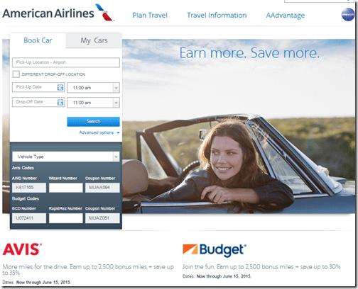 AAdvantage Avis Budget 2500 miles