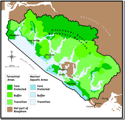 Clayoquot Sound Biosphere Reserve map