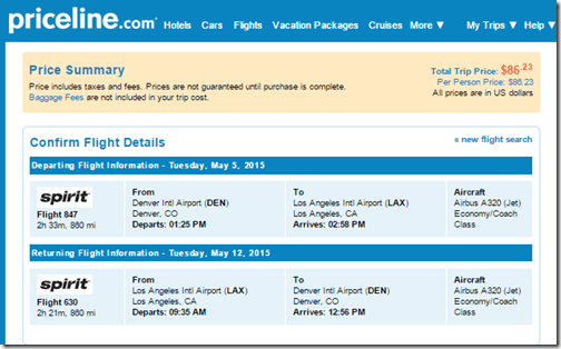 DEN-LAX Spirit $87 May15