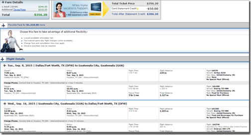 DFW-GUA United $356 Oct15