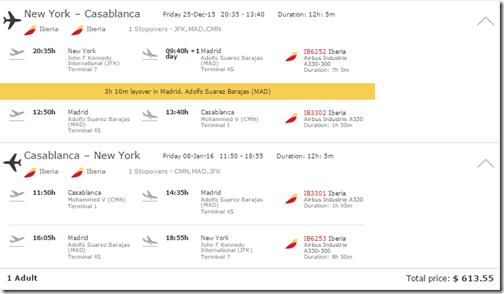 JFK-CMN Iberia $615 Dec15