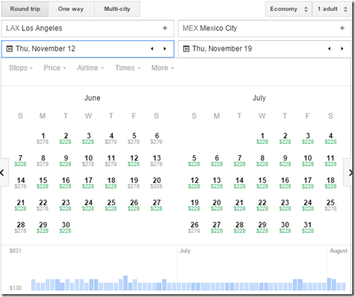 LAX-MEX Google flights calendar June-July
