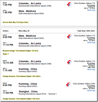 LAX-MLE China Eastern $974 may-2