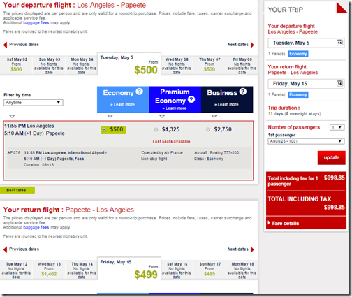 LAX-PPT $999 Air France