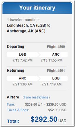 LGB-ANC $293 JetBlue July15