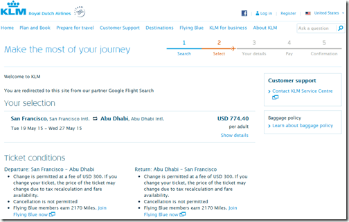 SFO-AUH $774 KLM price May15