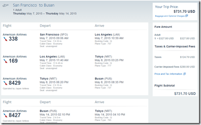 SFO-BUS AA $732 May15