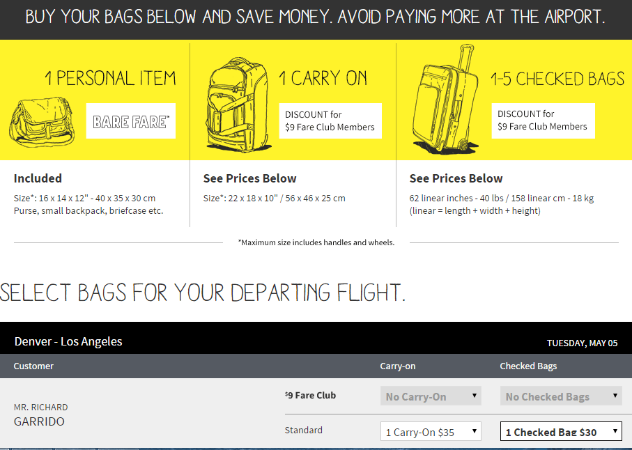 Spirit airlines los angeles denver 87 to 97 loyalty for Spirit airlines ticket prices