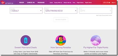 Virgin America homepage