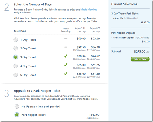 Disneyland Park Hopper 3-day $275