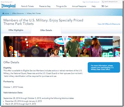 Disneyland military discount