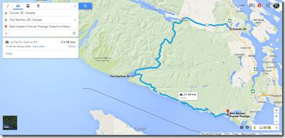Google Maps Duncan-Port Renfrew-Sooke