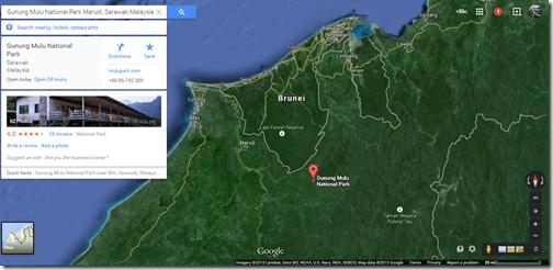 Google Maps Gunung Mulu NP close-up