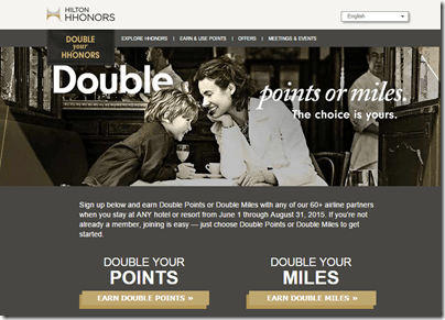 HHonors Double Points or Miles 2015 Q3