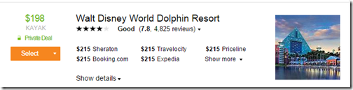 Kayak WDW Dolphin Private Deal