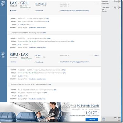 LAX-GRU $513 DL Oct15