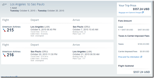 LAX-GRU $557 AA Oct6-20