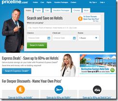 Priceline homepage