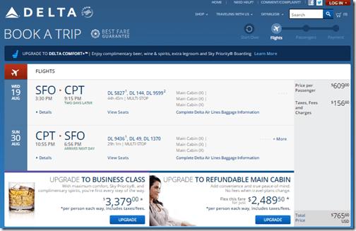 SFO-CPT DL $766 August15