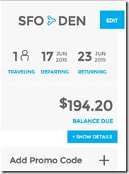 SFO-DEN $194 Frontier June 15