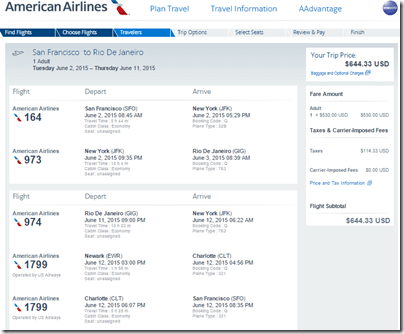 SFO-GIG $644 AA June2-11-15